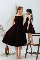 CH0156 Velvet Dress with Corded Straps