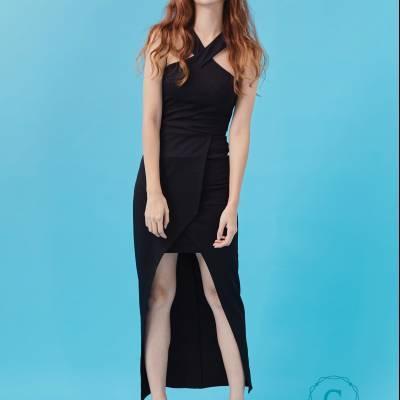 D0420 Cross Front Maxi Dress