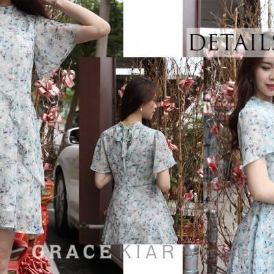 D0566 High-neck Floral Flounce Dress