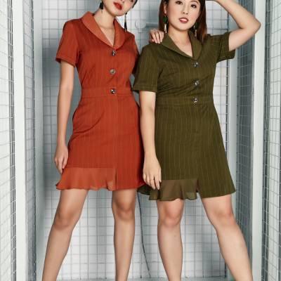 D0580 Stipe Collar Dress