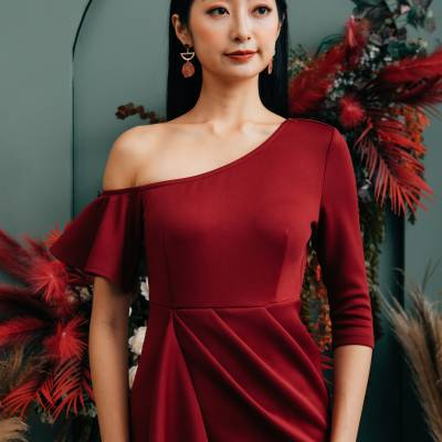 D0647 One Shoulder Dress with Drapes