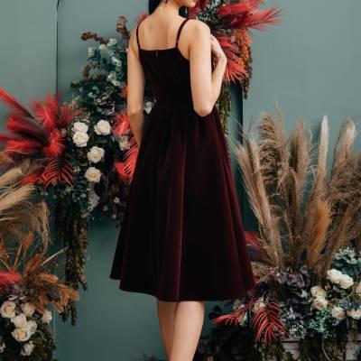 D0654 Velvet Dress with Corded Straps