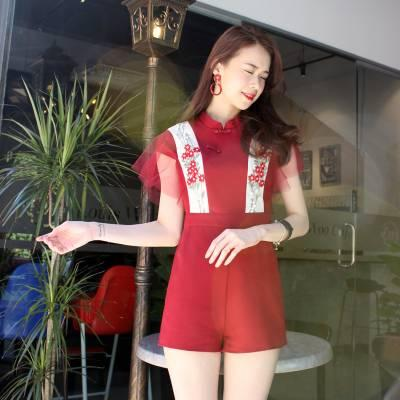 J0160 Lace Trim Cheongsam Jumpsuit