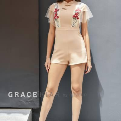 J0160 Lace Trim Cheongsam Jumpsuit