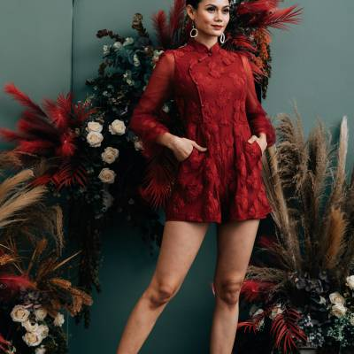 J0205 Embroidered Lace Chongsam Jumpsuit
