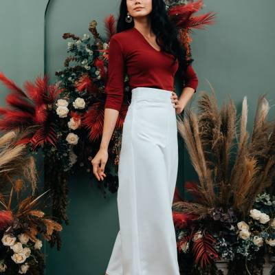 LP0132 One Sided Slit With Lace Pants