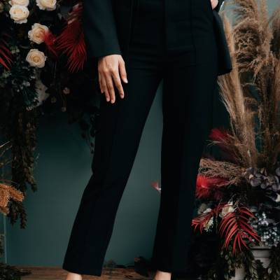 LP0134 Suit Pants with Front Seam Detail