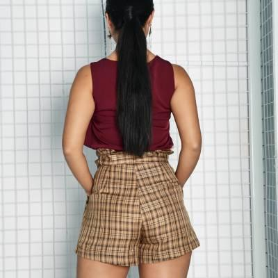 P0097 Checkered Paperbag Pants
