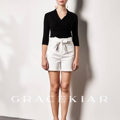 P0108 Denim Shorts with Fringe