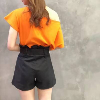 P0114 Belted A-Line Shorts with Pleats