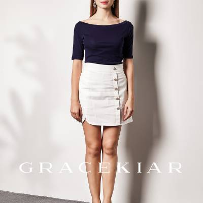 S0239 Buttoned up A-line skirt