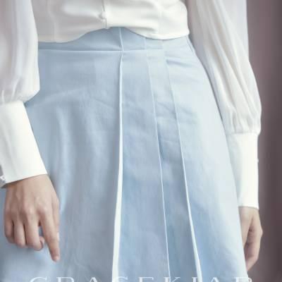 S0243 Pleated Denim Skirt with Fringe