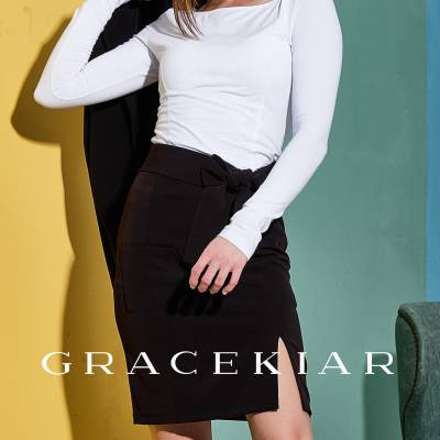 S0244 Pencil skirt with patch pocket