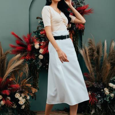 S0248 PV Belted Maxi Skirt