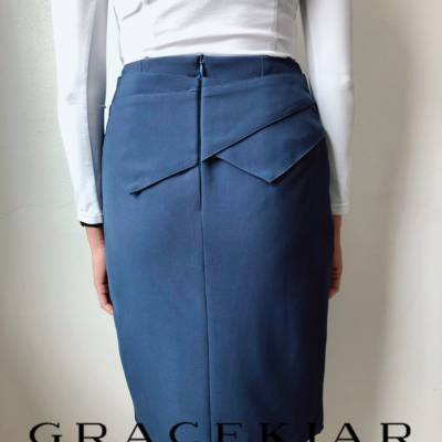 S0251 Collared Pencil Skirt