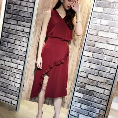 SE0055 Sleeveless V-neck Top with Flared Skirt Set
