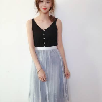 T0790 Front Button Knit Singlet