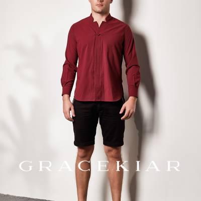 T0828 V Neckline Mandarin Collar Shirt