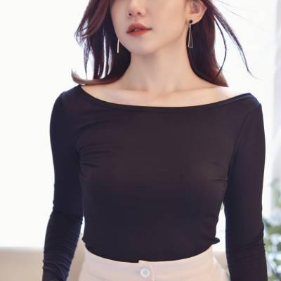 T0832 Boat Neckline Fitted Top