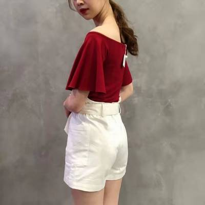 T0849 Off shoulder with flared sleeves