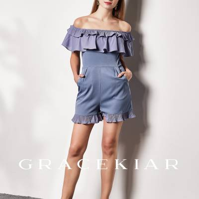 J0196 OFF SHOULDER WITH PLEATED RUFFLES JUMPSUIT
