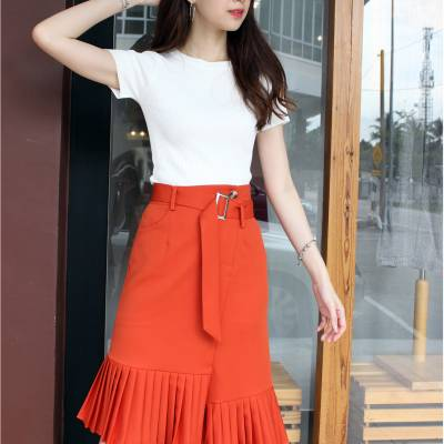 S0153 Asymetrical Pleated Skirt