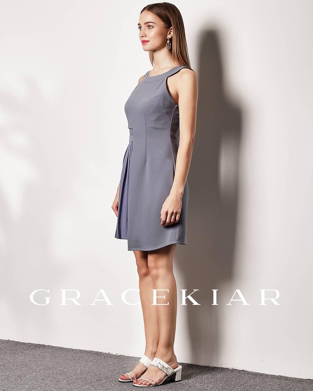 D0641 Asymmetrical Dress with Pleats