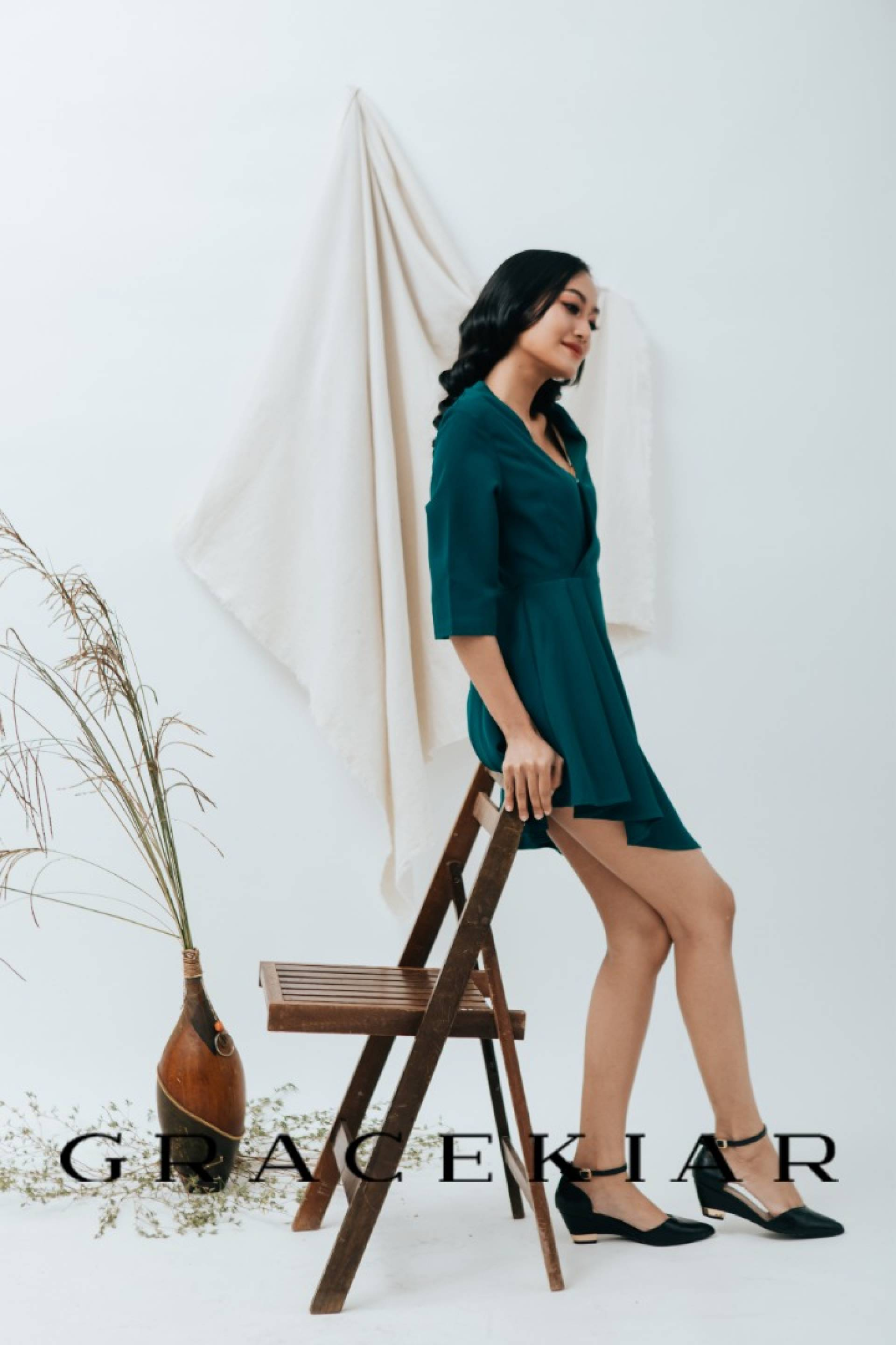 D0645 Overlapping V Neckline Dress with Pleated Details