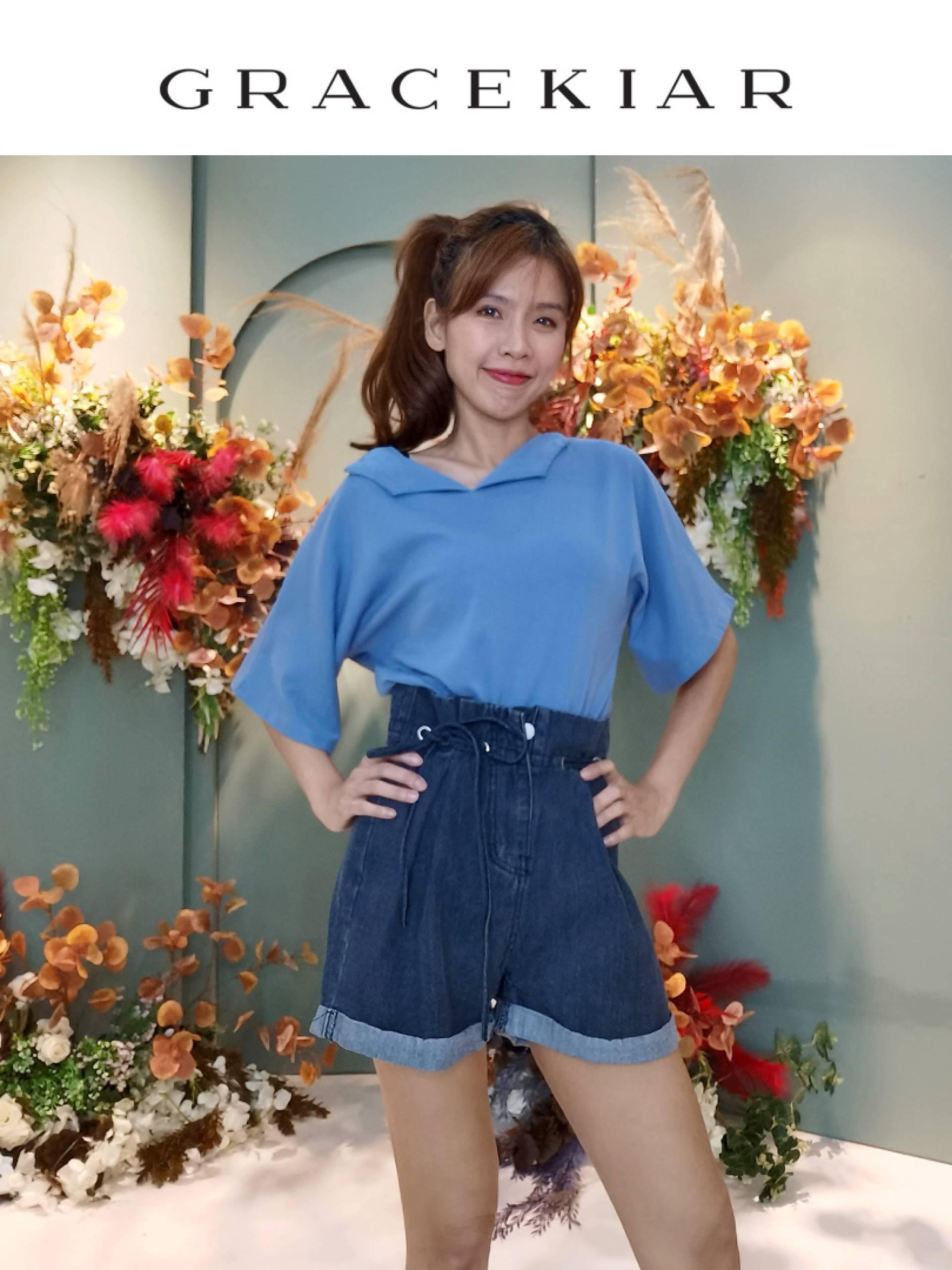 P0124 Elastic Ribbon Denim shorts