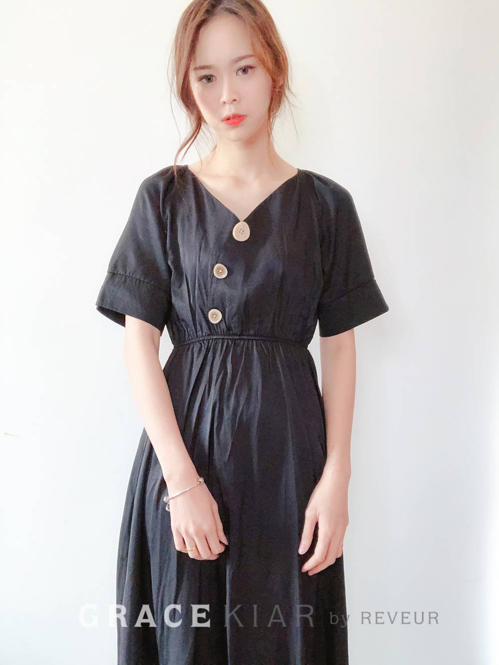 D0609 Button Midi Dress