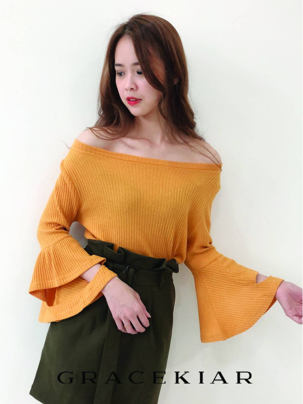T0804 Knit Flare Sleeve Top