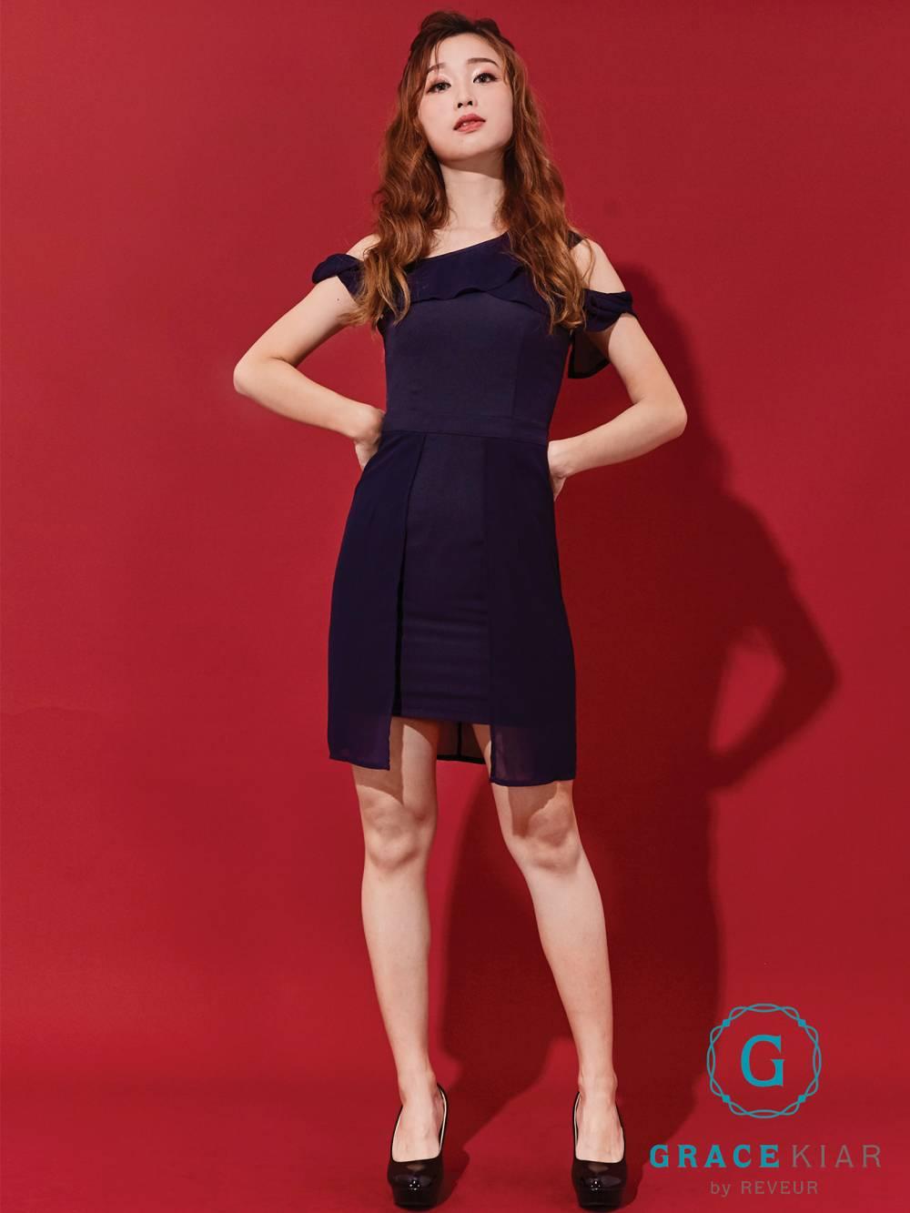 D0441 One-shoulder Chiffon Flounce Dress