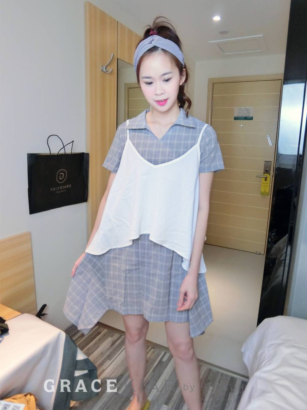 Checkered Two-pieces Dress D0461