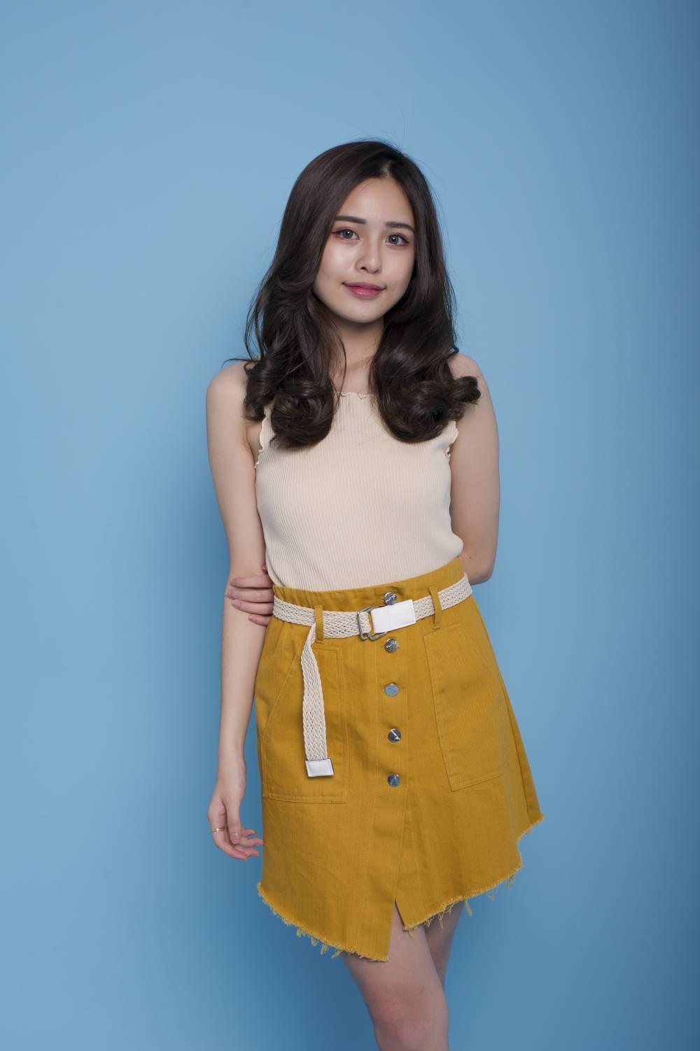 S0127 Frayed Hem Skirt with Belt