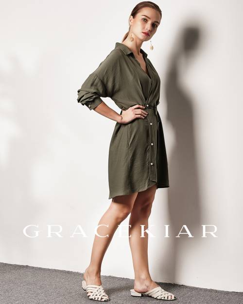 SE0068 Slanted Button Openning Shirt Dress