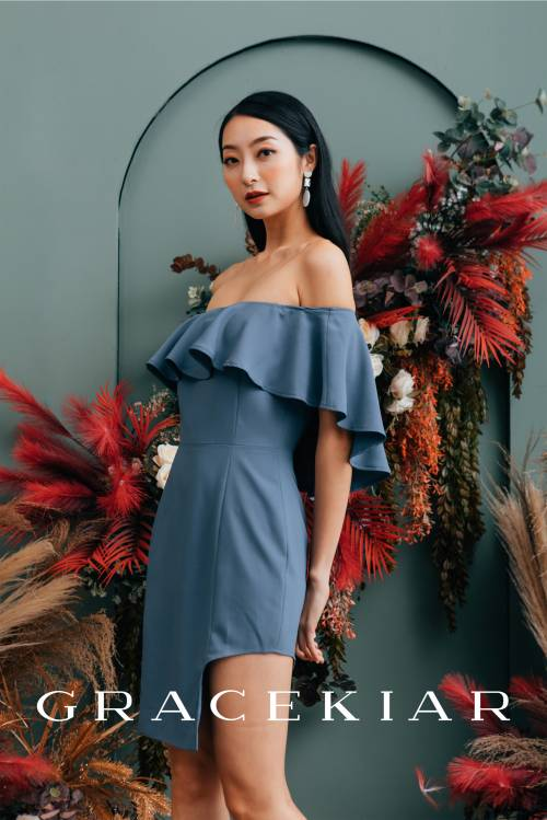 D0653 Ruffle Off Shoulder Fitted Dress