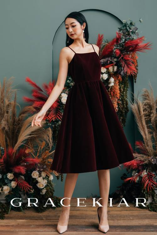 D0654 Velvet Dress with Corded Straps