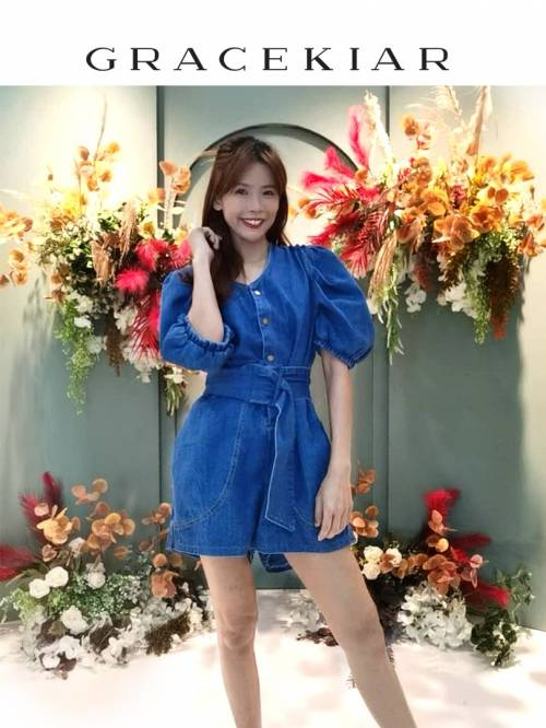 J0207 Short Cotton Denim Jumpsuit