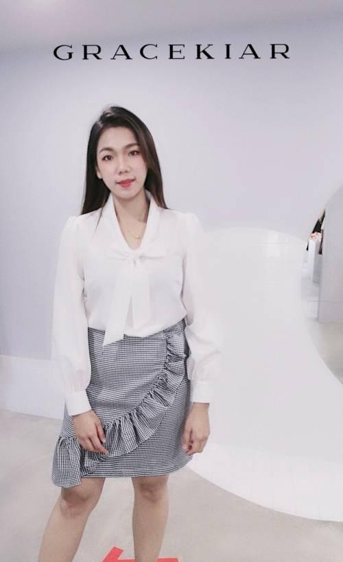 S0253 A-symmetrical ruffle skirt