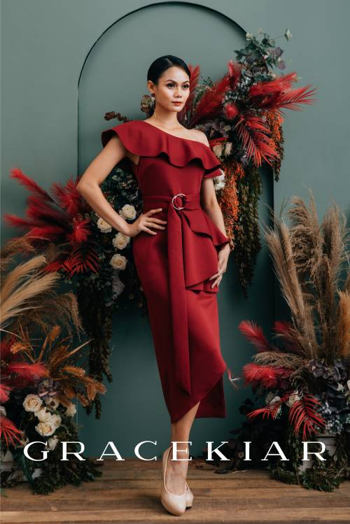 D0646 One Shoulder Ruffle Asymmetrical Dress