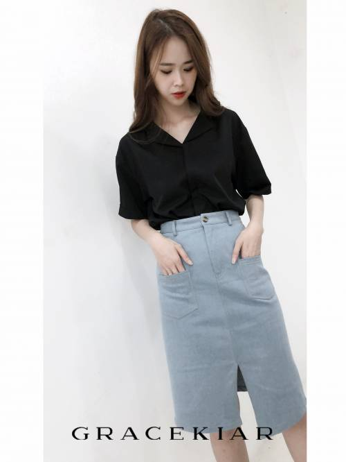 S0229 Pocket Denim Skirt