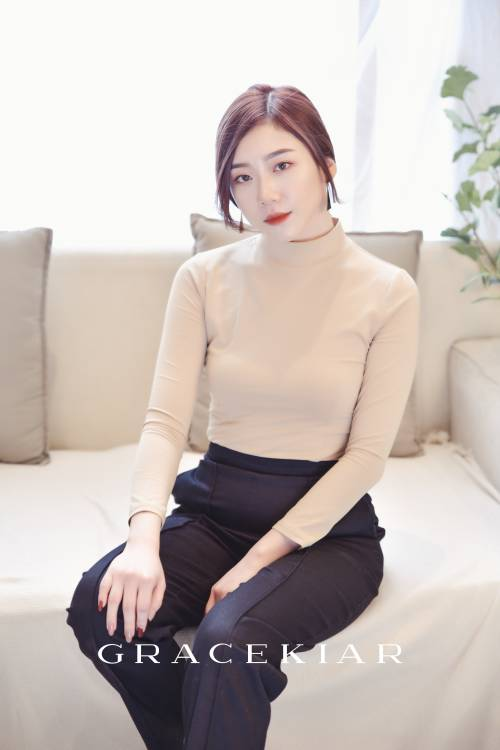 T0834 Turtle Neck Fitled Top